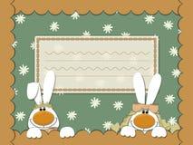 Tarjeta con los conejos y la manzanilla fotos de archivo libres de regalías