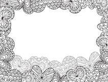 Tarjeta con los contornos de los corazones del garabato libre illustration