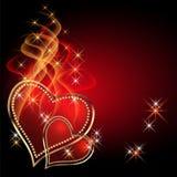 Tarjeta con los corazones ardientes Fotografía de archivo