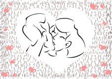 Tarjeta con los corazones para el día de tarjetas del día de San Valentín Fotografía de archivo libre de regalías