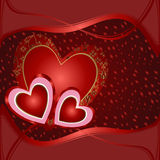 Tarjeta con los corazones rojos Imagenes de archivo