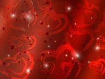 Tarjeta con los corazones rojos Imágenes de archivo libres de regalías