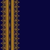 Tarjeta con los cordones de oro en el fondo oscuro stock de ilustración