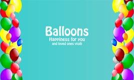 Tarjeta con los globos que dan alegría Fotos de archivo