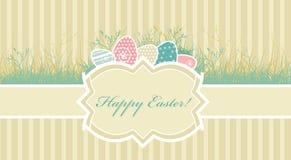 Tarjeta con los huevos de Pascua Imagen de archivo libre de regalías