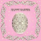 Tarjeta con los huevos de Pascua y las piedras preciosas