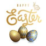 Tarjeta con los huevos y la inscripción realistas de Pascua Fotografía de archivo libre de regalías