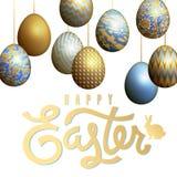 Tarjeta con los huevos y la inscripción realistas de Pascua Imágenes de archivo libres de regalías