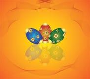 Tarjeta con los huevos y las flores ilustración del vector