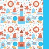 Tarjeta con los iconos del mar en el fondo blanco Rojo y azul Vector Foto de archivo libre de regalías