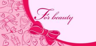Tarjeta con los objetos de la belleza Para la belleza stock de ilustración