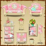 Tarjeta con los objetos tapizados rosa de los interiores Imagenes de archivo