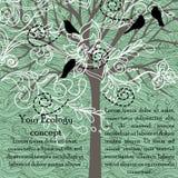 Tarjeta con los pájaros y el árbol floreciente Fotografía de archivo
