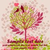 Tarjeta con los pájaros y el árbol floreciente Foto de archivo libre de regalías
