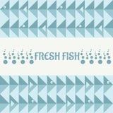 Tarjeta con los pescados y mar con las burbujas ilustración del vector