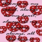 Tarjeta con palabras del amor y de los corazones rojos Fotografía de archivo libre de regalías