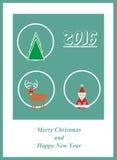 Tarjeta con Papá Noel, el árbol de navidad, los ciervos y 2016 libre illustration