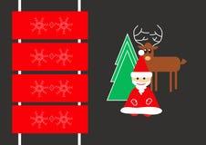 Tarjeta con Papá Noel, el árbol de navidad, los ciervos y el trineo libre illustration