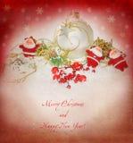 Tarjeta con Santas, imagen del Año Nuevo del vintage Imagen de archivo