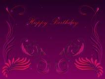 Tarjeta con un feliz cumpleaños de la enhorabuena con un diseño floral Imagen de archivo libre de regalías