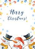 Tarjeta con un muñeco de nieve, copos de nieve, juguetes de la Navidad, nieves acumulada por la ventisca del invierno de la acuar stock de ilustración