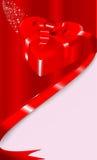 Tarjeta con un rectángulo de regalo en una dimensión de una variable del corazón Ilustración del Vector