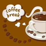 Tarjeta con una taza de café, descanso para tomar café Fotos de archivo