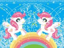 Tarjeta con unicornios lindos y arco iris ilustración del vector