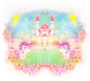 Tarjeta con unicornios lindos y castillo mágico stock de ilustración
