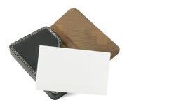 Tarjeta conocida en blanco en portatarjetas Imágenes de archivo libres de regalías