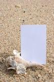 Tarjeta conocida y seashell en la playa Fotografía de archivo libre de regalías
