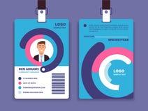 Tarjeta corporativa de la identificación Insignia profesional de la identidad del empleado con el avatar del hombre Modelo del di stock de ilustración