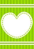 Tarjeta cosida de la invitación del corazón Foto de archivo libre de regalías