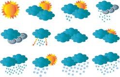 Tarjeta creativa con todos los símbolos de la meteorología ilustración del vector
