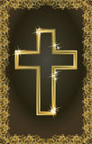 Tarjeta cruzada cristiana de oro feliz de Pascua Fotografía de archivo