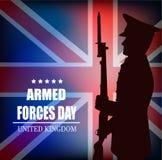 Tarjeta, día de fuerzas armadas de arma de Reino Unido de Gran Bretaña Imagen de archivo libre de regalías