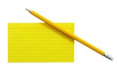 Tarjeta de índice con el lápiz 1 Fotografía de archivo