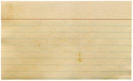 Tarjeta de índice en blanco que amarillea vieja sucia aislada. Imagenes de archivo
