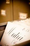 Tarjeta de índice vieja de la biblioteca Fotografía de archivo libre de regalías