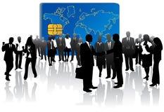 Tarjeta de actividades bancarias y peop del asunto Imagenes de archivo