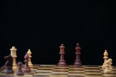 Tarjeta de ajedrez con el rey y la reina Imagenes de archivo