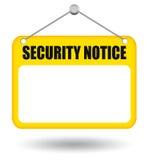 Tarjeta de aviso de la seguridad Imágenes de archivo libres de regalías