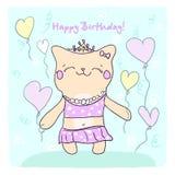 Tarjeta de Birtday con el gatito y los globos lindos. Imágenes de archivo libres de regalías