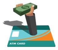 Tarjeta de cajero automático y dinero ilustración del vector
