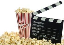 Tarjeta de chapaleta de la película en palomitas Fotografía de archivo libre de regalías