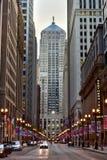Tarjeta de Chicago del edificio del comercio imagenes de archivo