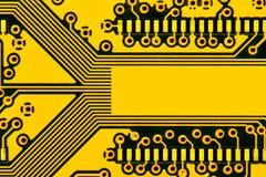 Tarjeta de circuitos amarilla Fotografía de archivo
