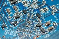 Tarjeta de circuitos azul fotografía de archivo