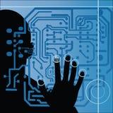 Tarjeta de circuitos con la silueta y la mano humanas