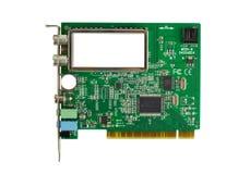 Tarjeta de circuitos con los microchipes Imágenes de archivo libres de regalías